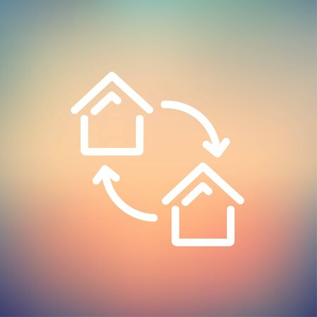 habitation: Two little houses icon thin line for web and mobile, modern minimalistic flat design. Vector white icon on gradient mesh background.