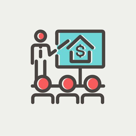 sociologist: Real estate agent seminar on how to earn money icon thin line for web and mobile, modern minimalistic flat design. Vector icon with dark grey outline and offset colour on light grey background.