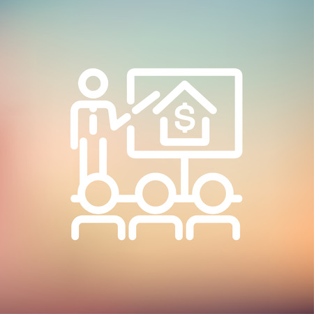 sociologist: Real estate agent seminar on how to earn money icon thin line for web and mobile, modern minimalistic flat design. Vector white icon on gradient mesh background. Illustration