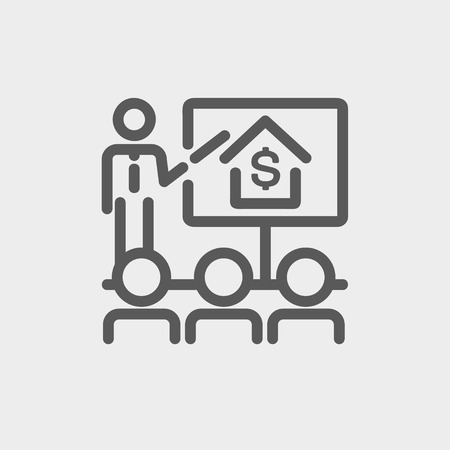 sociologist: Real estate agent seminar on how to earn money icon thin line for web and mobile, modern minimalistic flat design. Vector dark grey icon on light grey background.