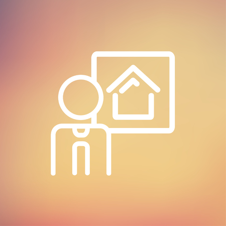 smart goals: Real estate agent speech icon thin line for web and mobile, modern minimalistic flat design. Vector white icon on gradient mesh background.