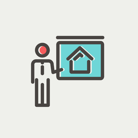 sociologist: Real estate training icon thin line for web and mobile, modern minimalistic flat design. Vector icon with dark grey outline and offset colour on light grey background.