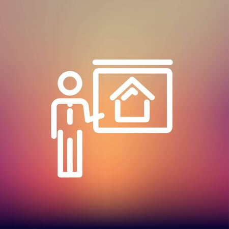 sociologist: Real estate training icon thin line for web and mobile, modern minimalistic flat design. Vector white icon on gradient mesh background.