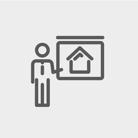 sociologist: Real estate training icon thin line for web and mobile, modern minimalistic flat design. Vector dark grey icon on light grey background.