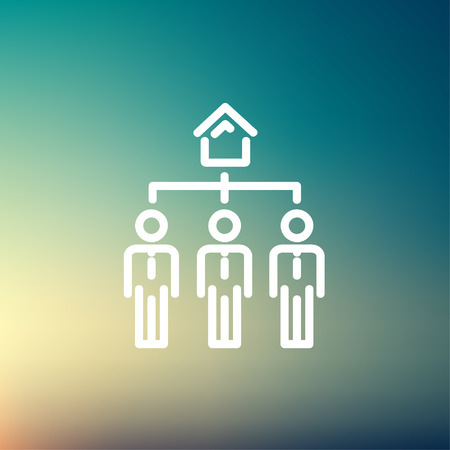 Three real estate agent in one house icon thin line for web and mobile, modern minimalistic flat design. Vector white icon on gradient mesh background. Stock Vector - 40113055