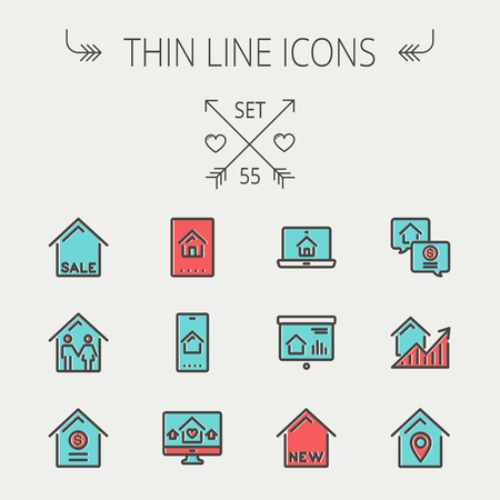 Real estate thin line icon set for web and mobile. Set include- electronic keycard, business card, graphs, new house, couple, dollar, locator pin icons. Modern minimalistic flat design. Vector icon with dark grey outline and offset colour on light grey ba Illustration