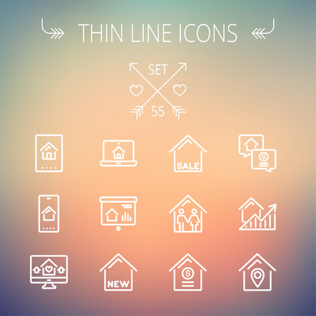 valuation: Real estate thin line icon set for web and mobile. Set includes- electronic keycard, business card, graphs, new house, couple, dollar, locator pin icons. Modern minimalistic flat design. Vector white icon on gradient mesh background.