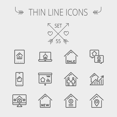 Real estate thin line icon set for web and mobile. Set includes- electronic keycard, business card, graphs, new house, couple, dollar, locator pin icons. Modern minimalistic flat design. Vector dark grey icon on light grey background.