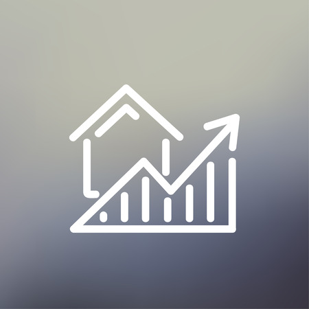 increases: Residential Graph Increases icon thin line for web and mobile, modern minimalistic flat design. Vector white icon on gradient mesh background.