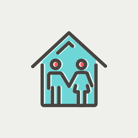 Family house icon thin line for web and mobile, modern minimalistic flat design. Vector icon with dark grey outline and offset colour on light grey background. Illusztráció