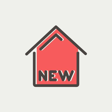new opportunity: New house icon thin line for web and mobile, modern minimalistic flat design. Vector icon with dark grey outline and offset colour on light grey background.
