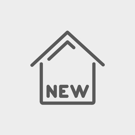 new opportunity: New house icon thin line for web and mobile, modern minimalistic flat design. Vector dark grey icon on light grey background. Illustration