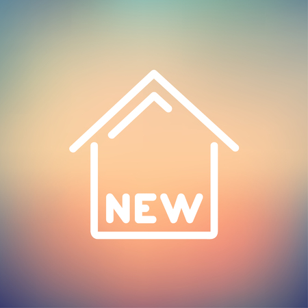 new opportunity: New house icon thin line for web and mobile, modern minimalistic flat design. Vector white icon on gradient mesh background.