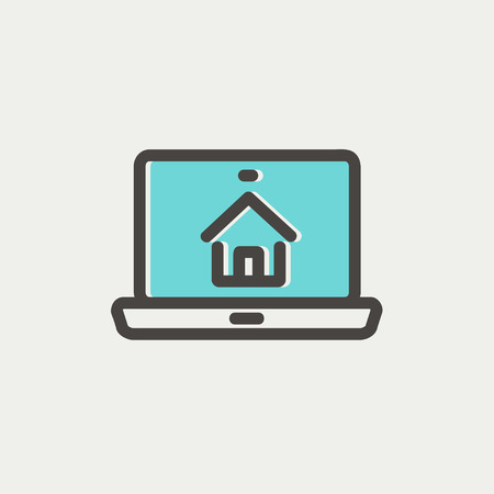 house shopping: Online house shopping icon thin line for web and mobile, modern minimalistic flat design. Vector icon with dark grey outline and offset colour on light grey background. Illustration