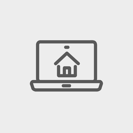 designer bag: Online house shopping icon thin line for web and mobile, modern minimalistic flat design. Vector dark grey icon on light grey background.