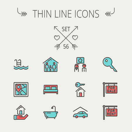 Real estate thin line icon set for web and mobile. Set include-key, placard, couple, garage, family, tub, pool  icons. Modern minimalistic flat design. Vector icon with dark grey outline and offset colour on light grey background.