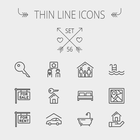 Real estate thin line icon set for web and mobile. Set includes- key, placard, couple, garage, family, tub, pool icons. Modern minimalistic flat design. Vector dark grey icon on light grey background. Ilustração