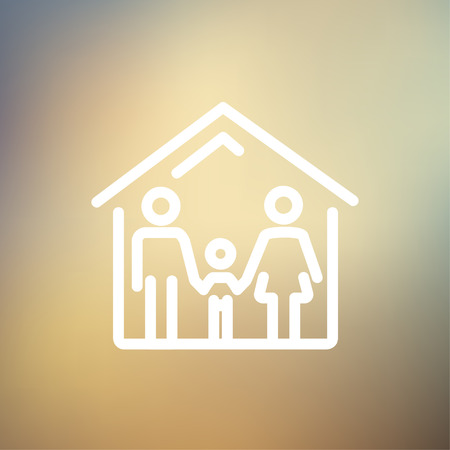 Family house icon thin line for web and mobile, modern minimalistic flat design. Vector white icon on gradient mesh background. Illustration
