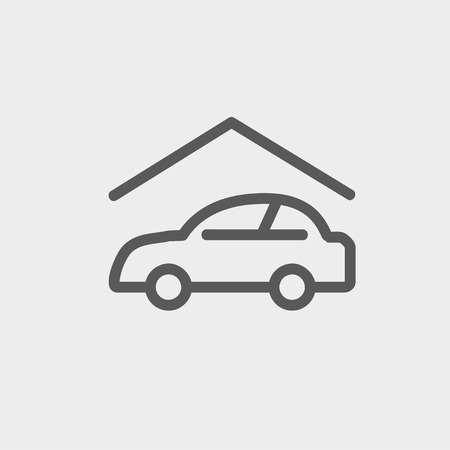 Car garage icon thin line for web and mobile, modern minimalistic flat design. Vector dark grey icon on light grey background.