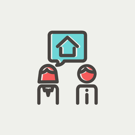 consider: Couple consider to buy a house icon thin line for web and mobile, modern minimalistic flat design. Vector icon with dark grey outline and offset colour on light grey background.