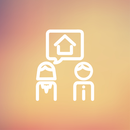 consider: Couple consider to buy a house icon thin line for web and mobile, modern minimalistic flat design. Vector white icon on gradient mesh background.