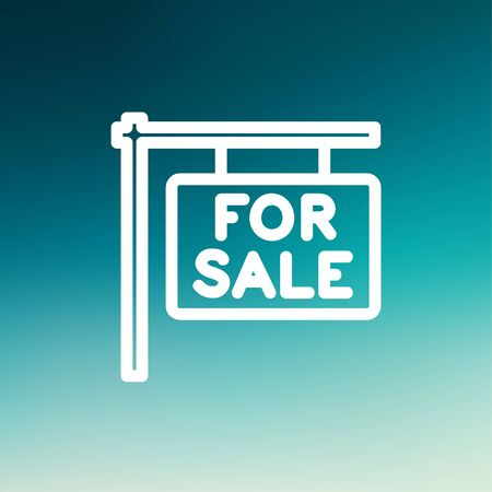 renting: For sale placard icon thin line for web and mobile, modern minimalistic flat design. Vector white icon on gradient mesh background.