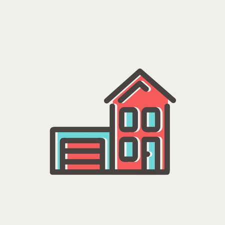 House with garage icon thin line for web and mobile, modern minimalistic flat design. Vector icon with dark grey outline and offset colour on light grey background. Vector