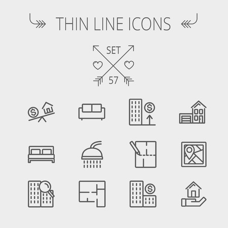 property: Real estate thin line icon set for web and mobile. Set includes- sofa, double bed, shower, drawing, buildings, house with garage icons. Modern minimalistic flat design. Vector dark grey icon on light grey background.