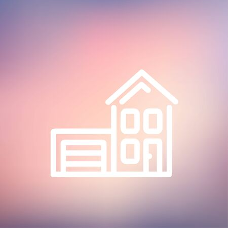 House with garage icon thin line for web and mobile, modern minimalistic flat design. Vector white icon on gradient mesh background. Vector