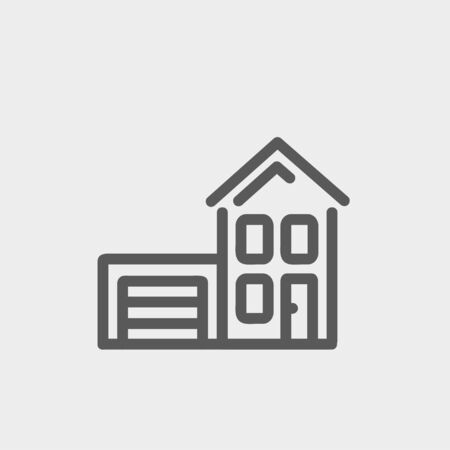 House with garage icon thin line for web and mobile, modern minimalistic flat design. Vector dark grey icon on light grey background. Vector
