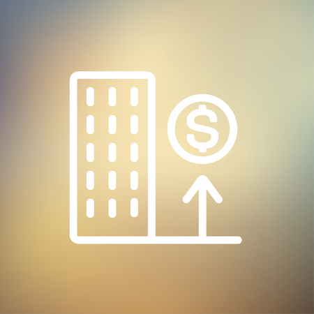scaffold: Good location high price icon thin line for web and mobile, modern minimalistic flat design. Vector white icon on gradient mesh background. Illustration