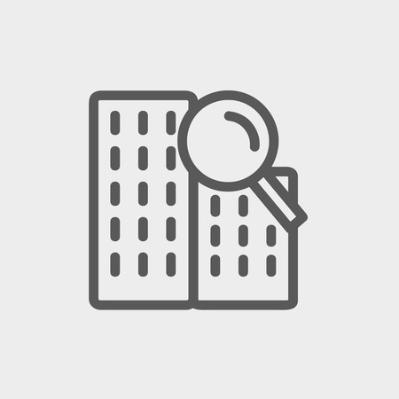 Search building icon thin line for web and mobile, modern minimalistic flat design. Vector dark grey icon on light grey background.