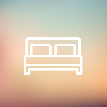 headboard: Double bed icon thin line for web and mobile, modern minimalistic flat design. Vector white icon on gradient mesh background.