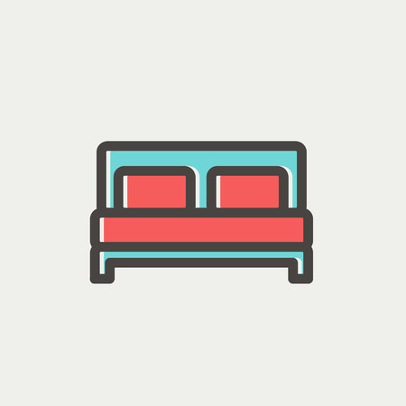 twin bed: Double bed icon thin line for web and mobile, modern minimalistic flat design. Vector icon with dark grey outline and offset colour on light grey background. Illustration