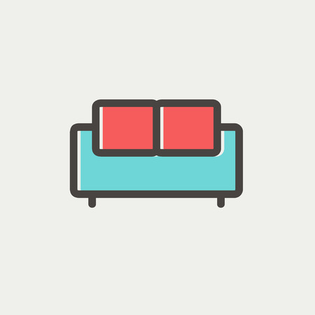 Furniture sofa icon thin line for web and mobile, modern minimalistic flat design. Vector icon with dark grey outline and offset colour on light grey background.