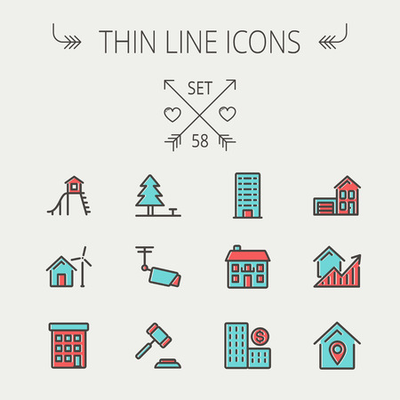 Real estate thin line icon set for web and mobile. Set includes-pine tree, antenna, gavel, playhouse, windmill, buildings icons. Modern minimalistic flat design. Vector icon with dark grey outline and offset colour on light grey background. Vector