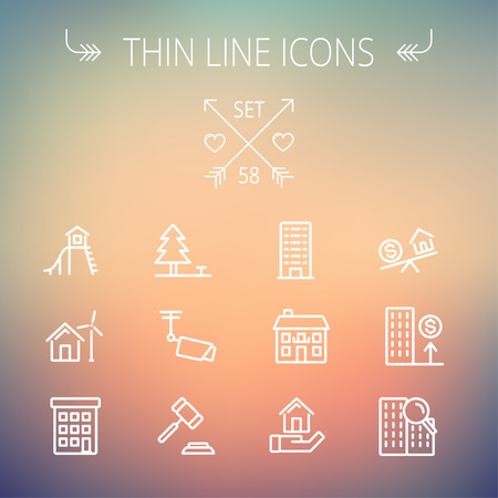 playhouse: Real estate thin line icon set for web and mobile. Set includes-pine tree, antenna, gavel, playhouse, windmill, buildings icons. Modern minimalistic flat design. Vector white icon on gradient mesh background.