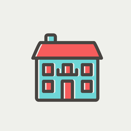 Real estate house icon thin line for web and mobile, modern minimalistic flat design. Vector icon with dark grey outline and offset colour on light grey background. Ilustração