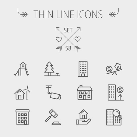 zakelijk: Onroerend goed dunne lijn icon set voor web en mobiel. Stel omvat-pijnboom, antenne, hamer, speelhuisje, windmolen, gebouwen pictogrammen. Moderne minimalistische platte design. Vector donkergrijs pictogram op lichtgrijze achtergrond.