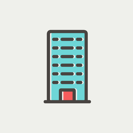 penthouse: Office building icon thin line for web and mobile, modern minimalistic flat design. Vector icon with dark grey outline and offset colour on light grey background.