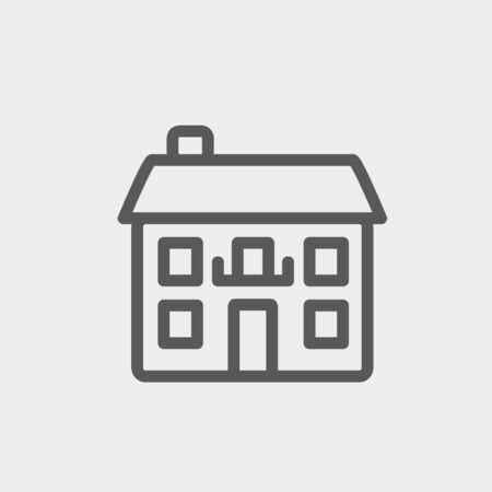 company premises: Real estate house icon thin line for web and mobile, modern minimalistic flat design. Vector dark grey icon on light grey background. Illustration
