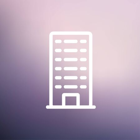 Office building icon thin line for web and mobile, modern minimalistic flat design. Vector white icon on gradient mesh background.