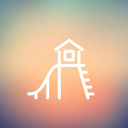 playhouse: Playhouse with slide icon thin line for web and mobile, modern minimalistic flat design. Vector white icon on gradient mesh background.