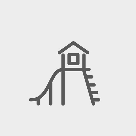 cubby: Playhouse with slide icon thin line for web and mobile, modern minimalistic flat design. Vector dark grey icon on light grey background. Illustration