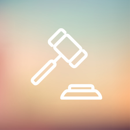 auctioning: Gavel icon thin line for web and mobile, modern minimalistic flat design. Vector white icon on gradient mesh background.