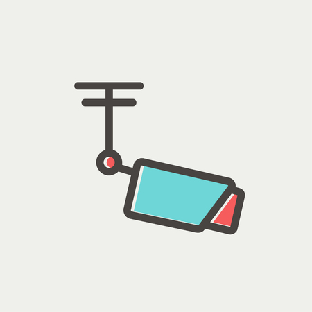 rooftop: Rooftop antenna icon thin line for web and mobile, modern minimalistic flat design. Vector icon with dark grey outline and offset colour on light grey background.