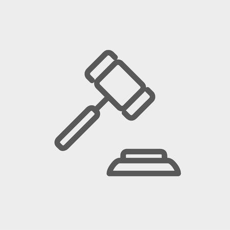 judicial system: Icon Mazo l�nea delgada para web y m�vil, dise�o plano minimalista moderno. Vector icono de color gris oscuro sobre fondo gris claro. Vectores