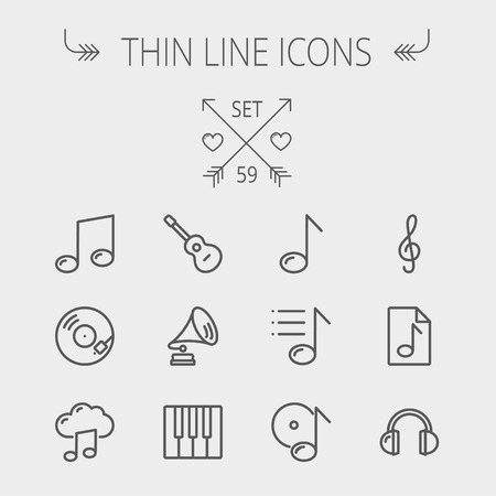 Music and entertainment thin line icon set for web and mobile. Set includes- musical notes, phonograph record, g- clef, headphone, gramophone, guitar, piano icons. Modern minimalistic flat design. Vector dark grey icon on light grey background.