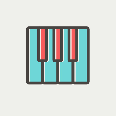 intertainment: Piano keys icon thin line for web and mobile, modern minimalistic flat design. Vector icon with dark grey outline and offset colour on light grey background.