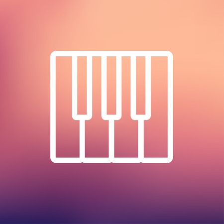 intertainment: Piano keys icon thin line for web and mobile, modern minimalistic flat design. Vector white icon on gradient mesh background. Illustration